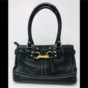 Coach Hampton Black Pebbled Leather Satchel